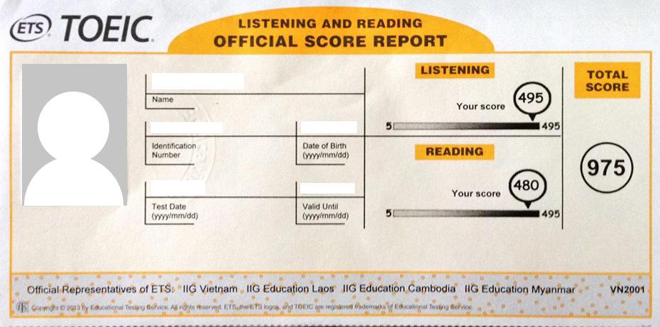 Mẫu phiếu báo điểm TOEIC 2 kỹ năng Reading & Listening