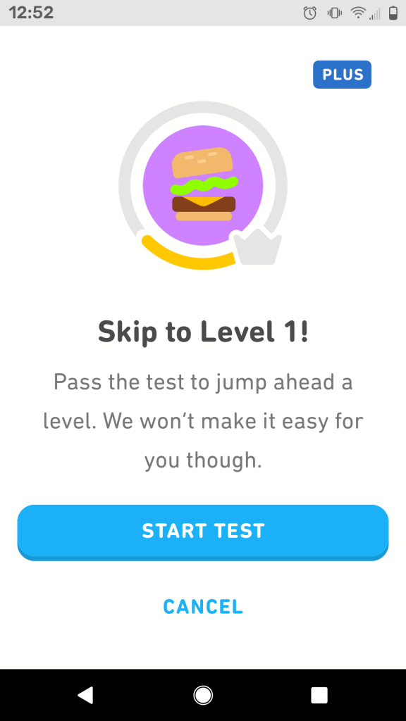 Bài test của Duolingo