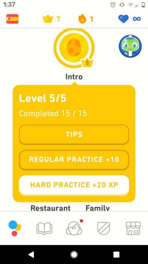 Thực hành lại bài học cũ trong Duolingo