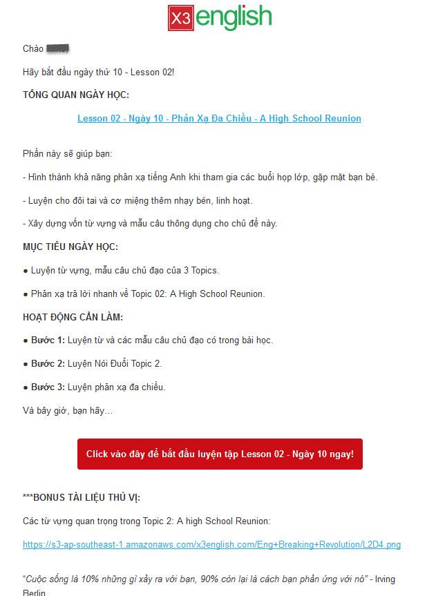 Email mà Eng Breaking gửi đến các học viên