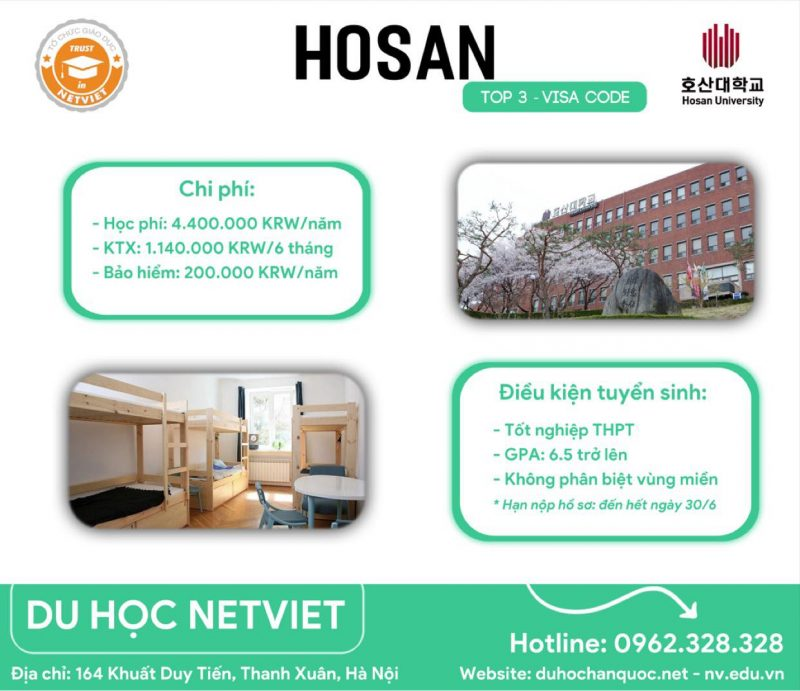 Hàn Quốc hiện là một trong các lựa chọn du học hàng đầu trong khu vực. Trong đó, đại học Hosan là đại học chuyên về khối ngành kỹ thuật được nhiều du học sinh lựa chọn.
