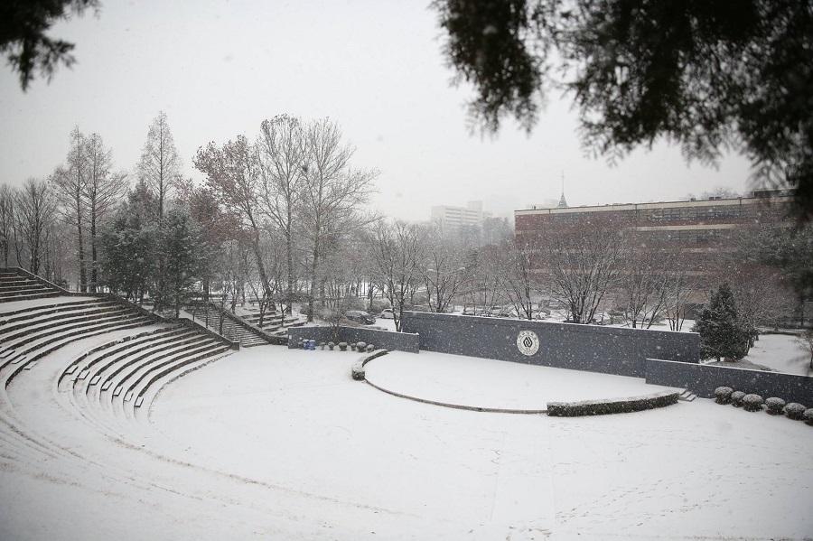 Trường đại học Ajou vào mùa đông